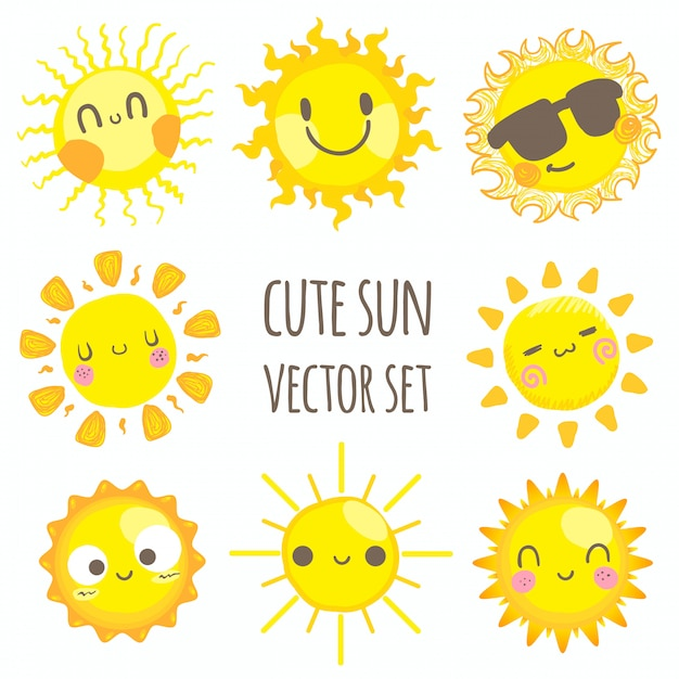 Słodkie Słońce Premium Wektorów
