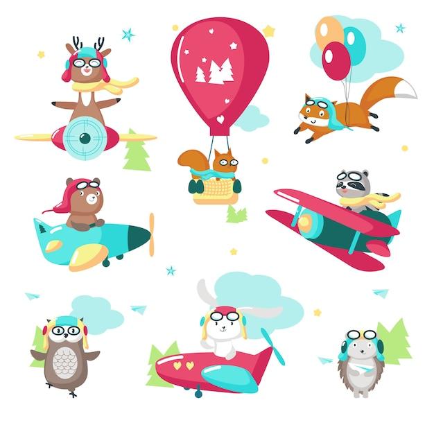 Słodkie śmieszne zwierzęta pilotażowe wektor ilustracja na białym tle Premium Wektorów