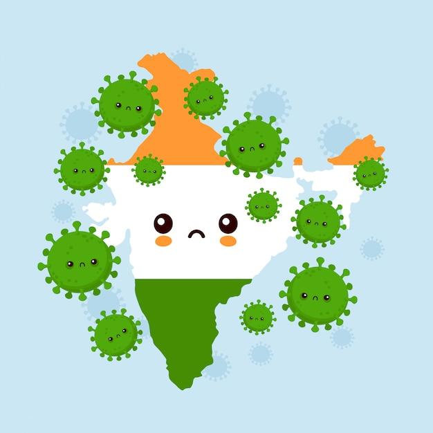 Słodkie Smutne Indie Zaatakowały Infekcję Koronawirusem. Ilustracja Kreskówka Postać W Stylu Płaski Premium Wektorów