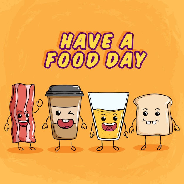 Słodkie śniadanie Z Zabawnym Wyrazem Twarzy Przy Użyciu Kolorowego Stylu Doodle Premium Wektorów