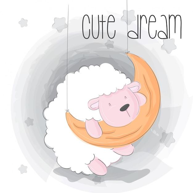 Słodkie śpiące dziecko owca kreskówka Premium Wektorów