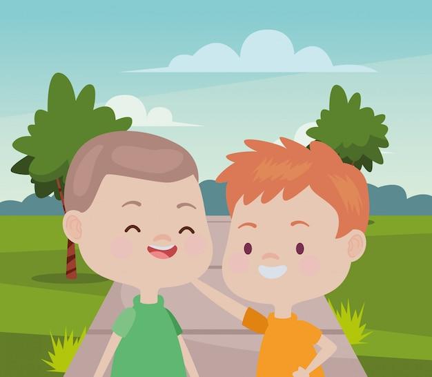 Słodkie szczęśliwe dzieci zabawne bajki Premium Wektorów