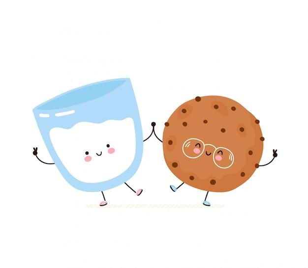Słodkie Szczęśliwy Uśmiechający Się Ciasteczka Czekoladowe I Szklankę Mleka. Pojedynczo Na Białym. Wektorowego Postać Z Kreskówki Ilustracyjny Projekt, Prosty Mieszkanie Styl. Koncepcja Przyjaciele Ciasteczka I Mleko Premium Wektorów