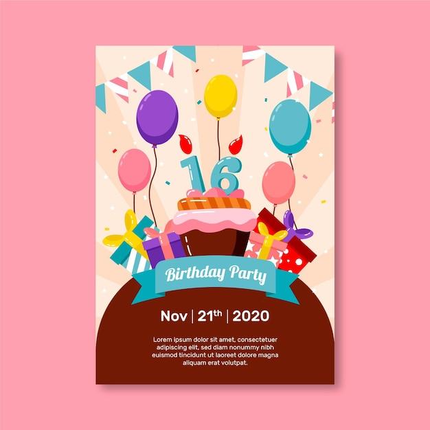 Słodkie Szesnaście Urodziny Zaproszenie Darmowych Wektorów