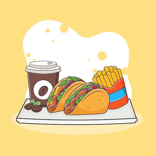 Słodkie Taco, Frytki I Ikona Ilustracja Kawy. Koncepcja Ikona Fast Food. Styl Kreskówki Premium Wektorów