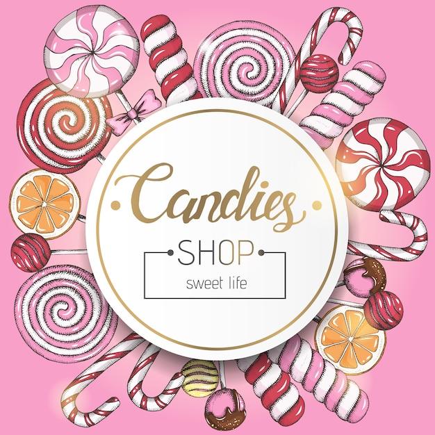 Słodkie tło z lizaków i ramki z tekstem na różowo. sklep ze słodyczami. odręczny napis. Premium Wektorów