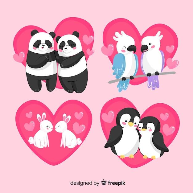 Słodkie valentine zwierząt pary opakowanie Darmowych Wektorów