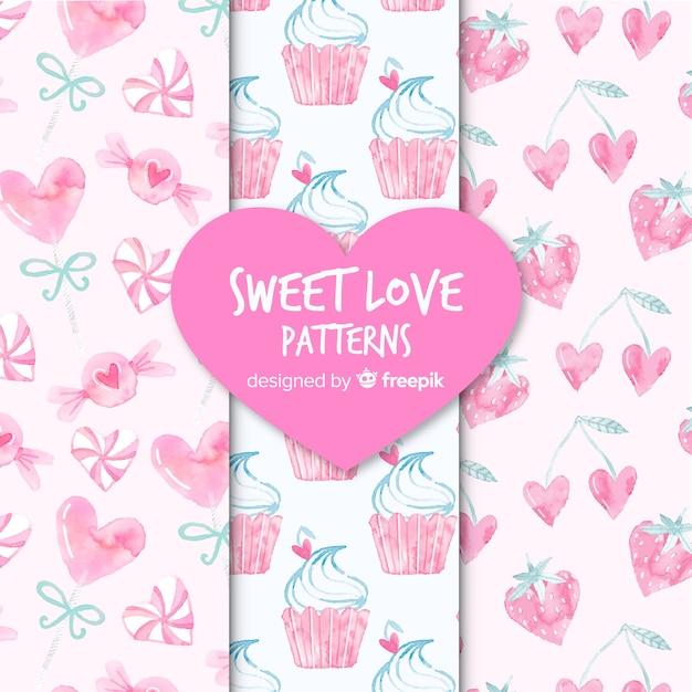 Słodkie wzory miłości Darmowych Wektorów