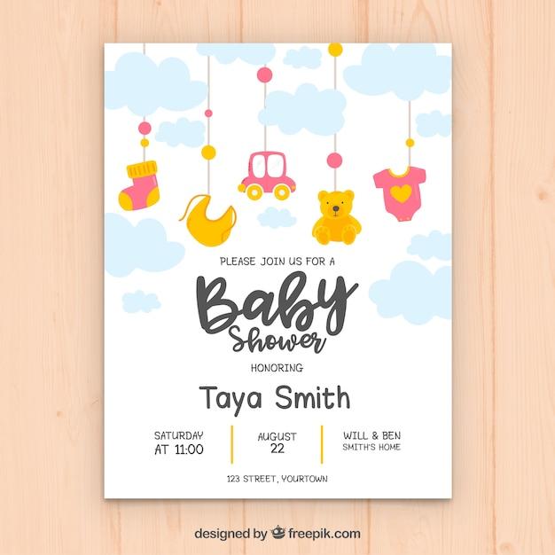 Słodkie Zaproszenie Na Baby Shower Darmowych Wektorów