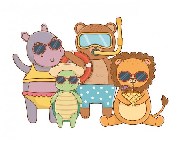Słodkie zwierzęta korzystające z wakacji Premium Wektorów