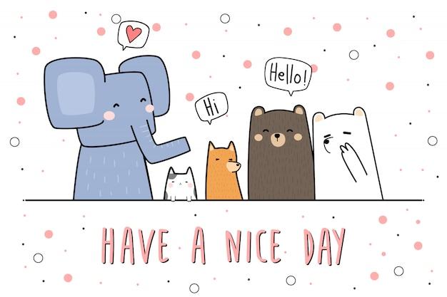 Słodkie zwierzęta pozdrowienie kreskówka doodle tapeta tapeta Premium Wektorów