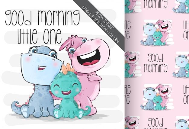 Słodkie Zwierzęta Rodzina Dino Dziecko Z Wzór Premium Wektorów