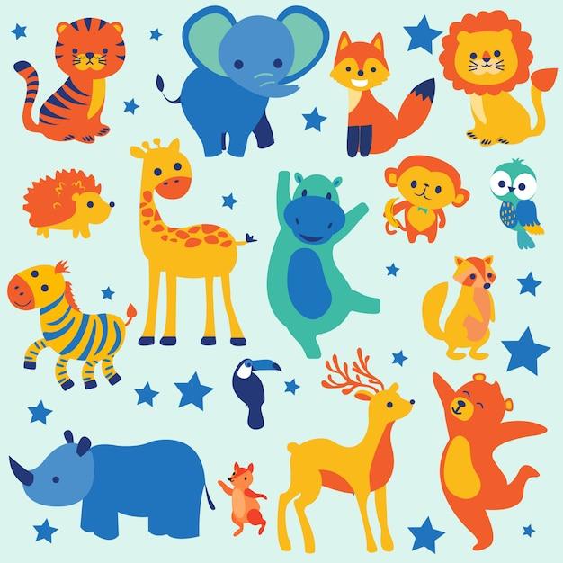 Słodkie zwierzęta z kreskówek Premium Wektorów