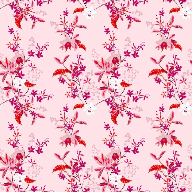 Słodko Kwitnące Delikatne Kwiaty Orchidei Ogrodowej I Wiele Rodzajów Kwiatowy Wzór Premium Wektorów