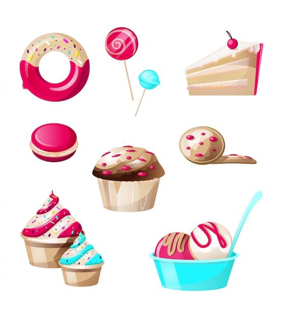 Słodycze I Słodycze Cukierki Zestaw Na Białym Tle Darmowych Wektorów