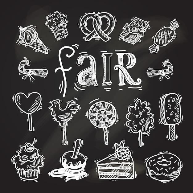 Słodycze szkic zestaw ikon tablica Premium Wektorów