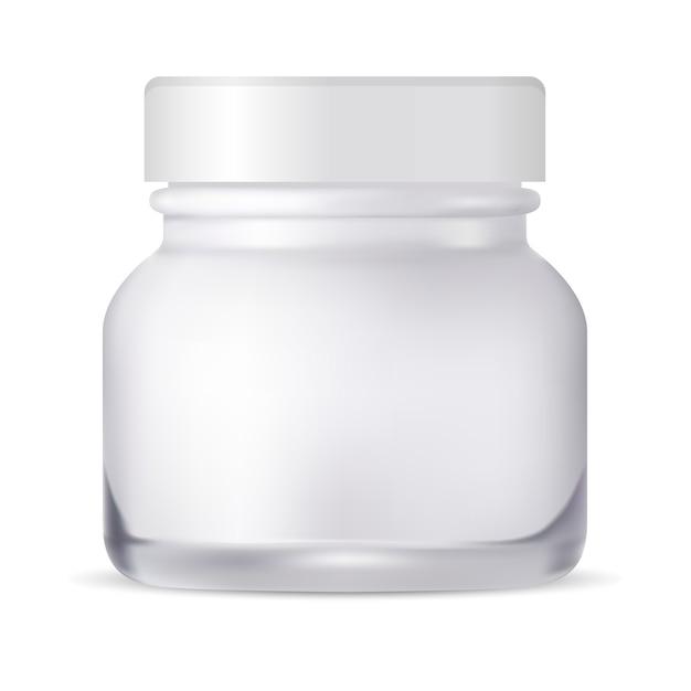 Słoik kosmetyczny. szklana butelka na krem. opakowanie. Premium Wektorów