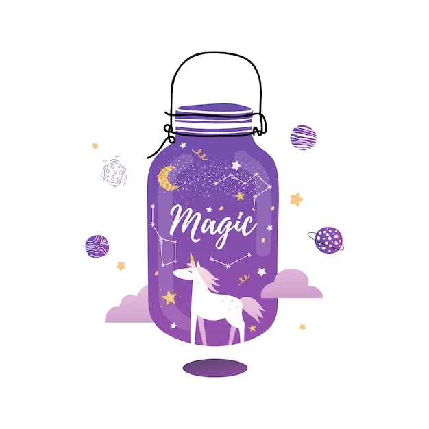 Słoik Magii. śliczny Magiczny Jednorożec Premium Wektorów