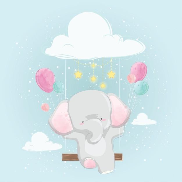 Słoń dziecko pływające pod niebo Premium Wektorów