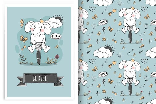 Słoń Jedzie Na Rowerze Ilustracja Doodle I Wzór Darmowych Wektorów