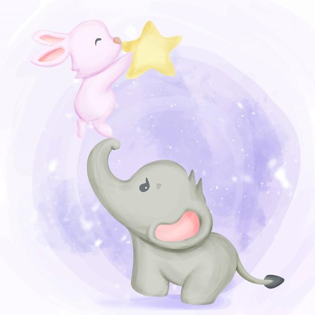 Słoń z królikiem bawić się gwiazdę Premium Wektorów
