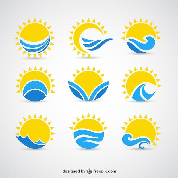 Słońca i fale ikony Darmowych Wektorów
