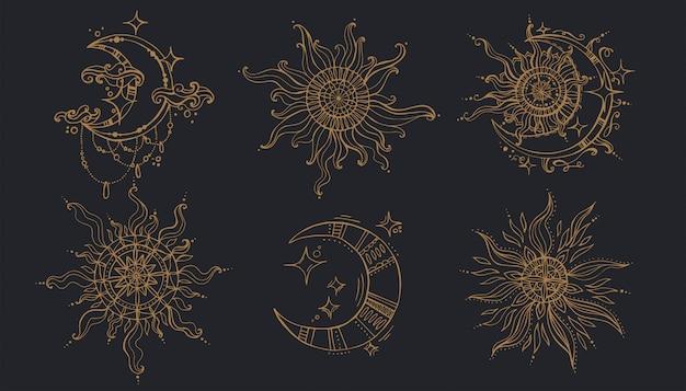 Słońce I Księżyc W Stylu Boho. Premium Wektorów