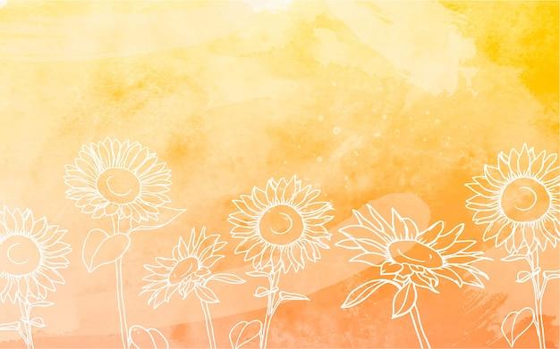 Słoneczniki Tło Z Akwarela Darmowych Wektorów