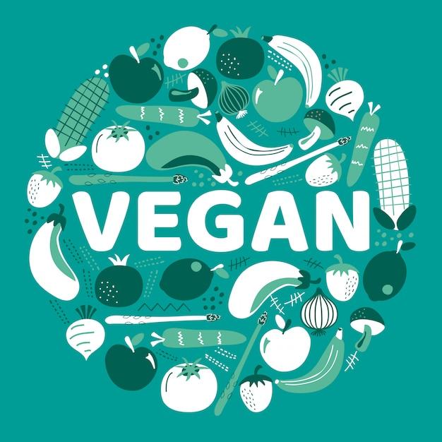 Słowo Wegańskie Otoczone Owocami I Warzywami. Premium Wektorów