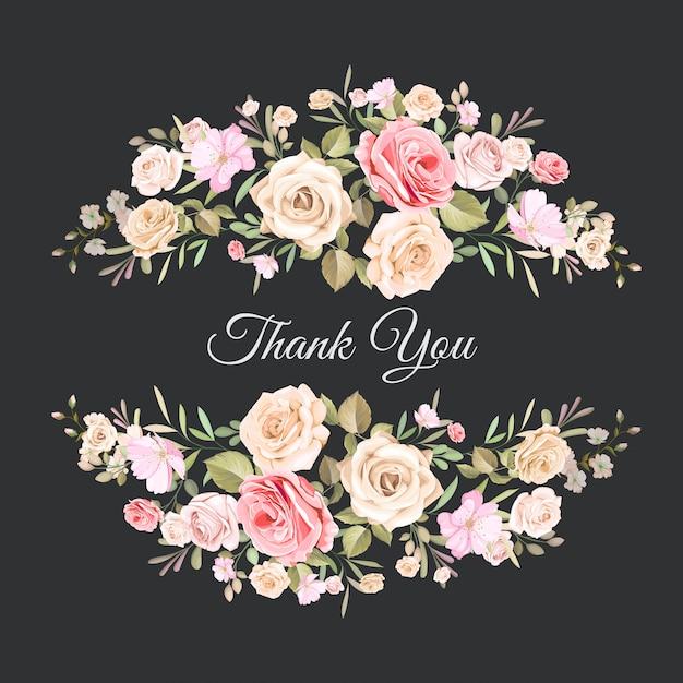 Ślub Dziękuję Karty Z Pięknym Kwiatowy Szablon Premium Wektorów