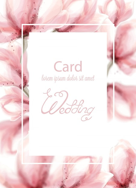 Ślub z różowymi kwiatami w akwareli Premium Wektorów