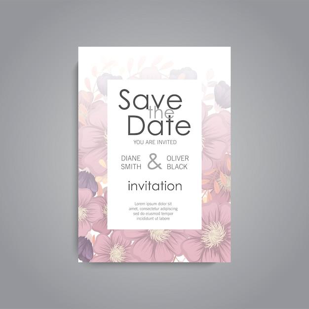 Ślubna karta z kwiatem wzrastał Darmowych Wektorów