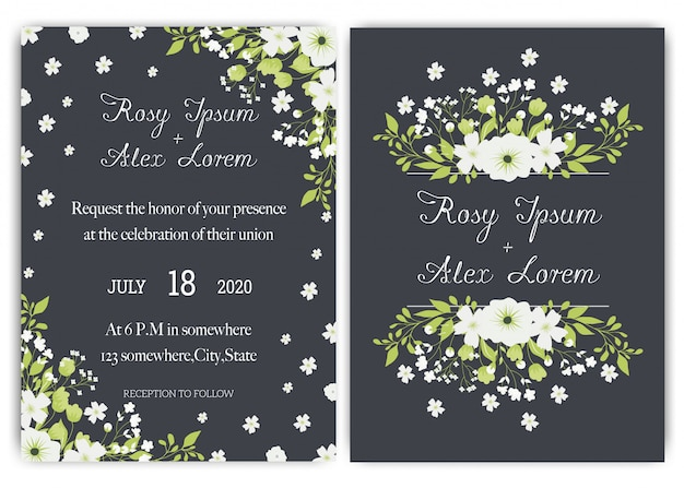 Ślubna karta zaproszenie apartament z kwiatem stokrotka szablony. Premium Wektorów