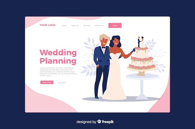 Ślubna strona docelowa z ilustrowanym para szablonem Darmowych Wektorów