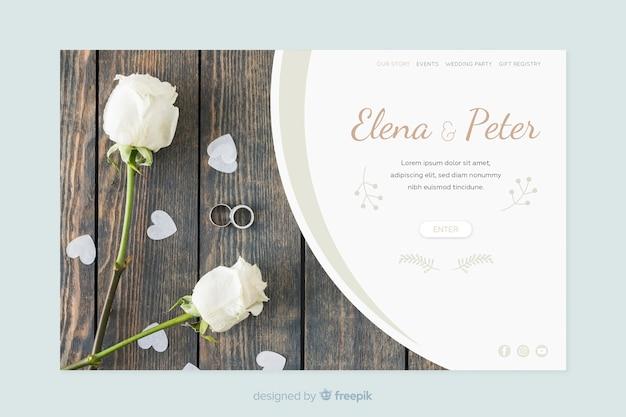 Ślubna strona docelowa z szablonem fotograficznym Darmowych Wektorów