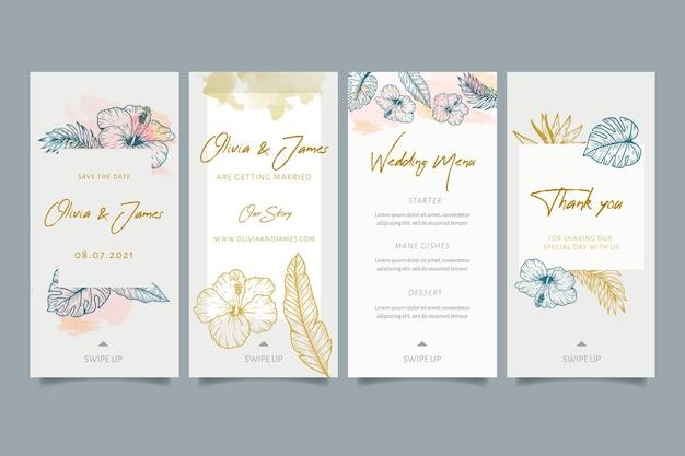 Ślubne Historie Na Instagramie Z Kwiatowymi Ornamentami Premium Wektorów