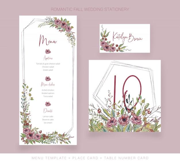 Ślubne menu akwarela, numer tabeli i numer karty Premium Wektorów