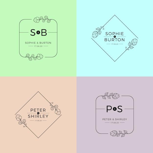 Ślubne monogramy w pastelowych kolorach szablon Darmowych Wektorów