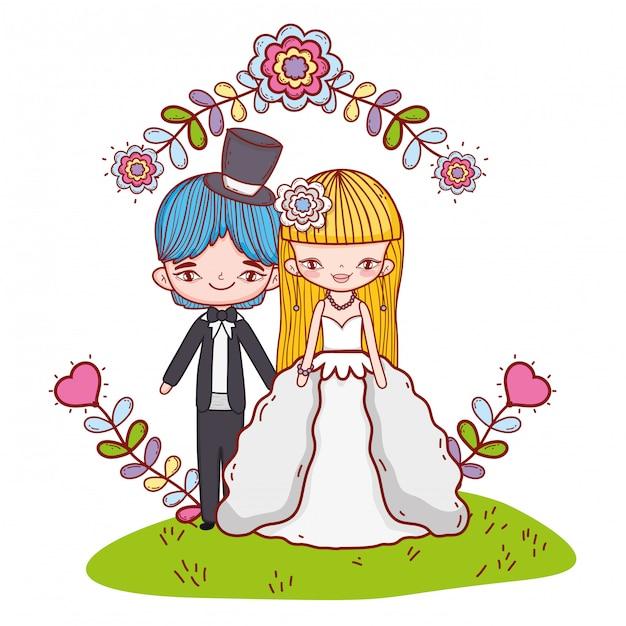 Ślubne pary kreskówek Premium Wektorów
