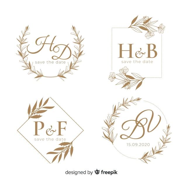 Ślubne ręcznie rysowane szablon logo kwiatowy Darmowych Wektorów