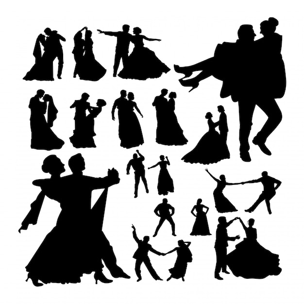 Ślubne sylwetki tańca. Premium Wektorów