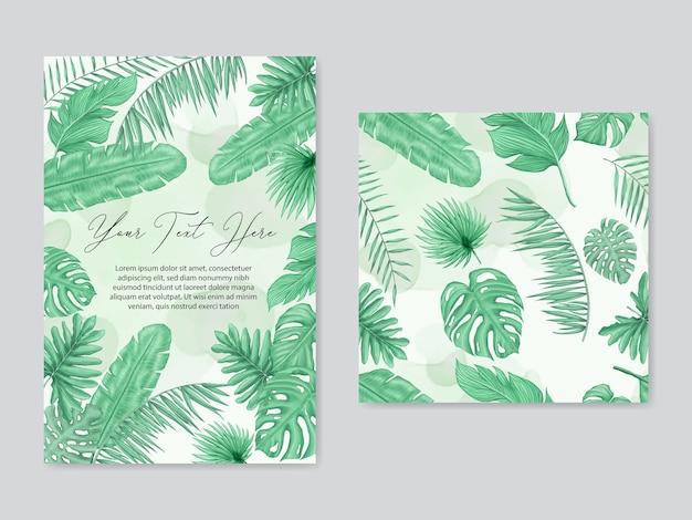 Ślubne Tropikalne Liście Tło I Wzór Zestaw Kolekcja Pakietu Premium Wektorów