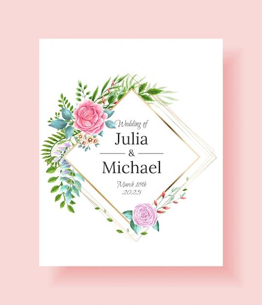 Ślubne Zaproszenia Ramki Zestaw Kwiatów Premium Wektorów