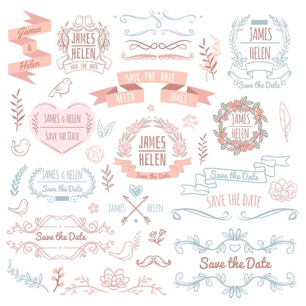 Ślubni retro wektorowi elementy dla zaproszenie karty. rustykalny kwiatowy elegancki design i ozdoby. ślubne zaproszenie retro elementy ilustracja Premium Wektorów