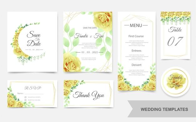 Ślubny szablon z pięknymi żółtymi kwiatami Premium Wektorów