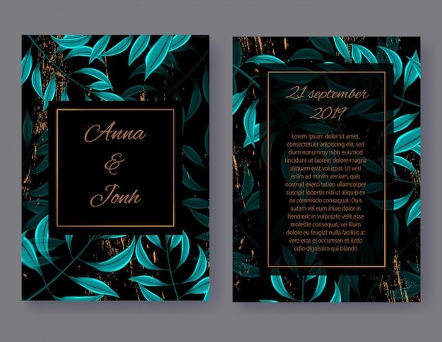Ślubny zaproszenie karty przód i tylny widok, kwiecisty zapraszam projekt z zielonymi tropikalnymi palmowymi liśćmi Premium Wektorów