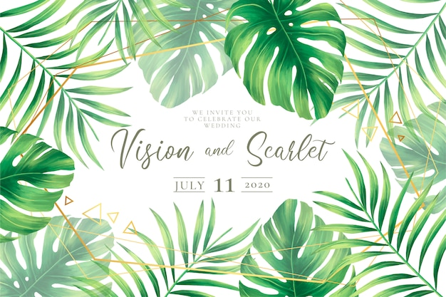 Ślubny zaproszenie szablon z tropikalnymi liśćmi Darmowych Wektorów