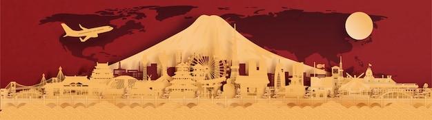 Słynny Symbol Japonii, Miasta I Panoramę Banerów Podróży, Pocztówki I Reklamy, Czerwone I Złote Tło Premium Wektorów