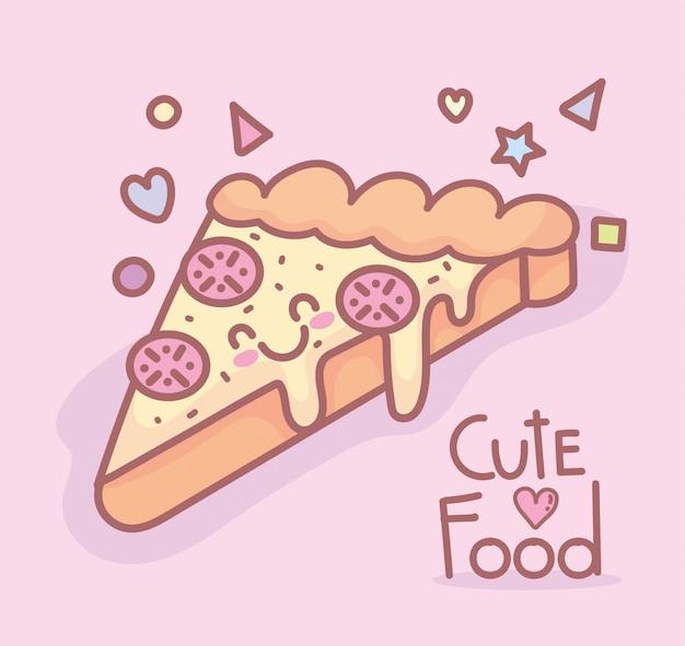 Smaczne Pizzy Postać Menu Restauracja Kreskówka Jedzenie Słodkie Premium Wektorów