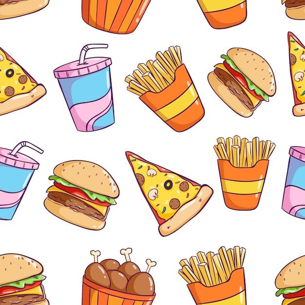 Smaczne słodkie śmieciowe jedzenie w jednolity wzór w stylu kolorowe doodle Premium Wektorów